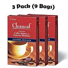 Urnex Cleancaf Coffee Maker & Espresso Machine Cleaner ans Descaler 3 Pack