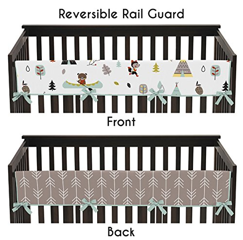 Aqua Blue and Gray Outdoor Adventure Long Front Rail Guard Boys or Girls Baby Teething Cover Crib Protector Wrap (Bed Rail Replacement Cover compare prices)
