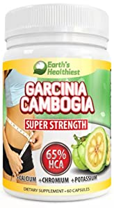 Garcinia Cambogia Extract Premium By Earth's Healthiest, Super Strength 65% HCA 1000mg ~ Featuring Clinically-proven, Ultra Pure Extract for Weight Loss - 30 Day Supply +Bonus Instructions on How to Use It for Maximum Weightloss.