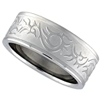 Stainless Steel 5/16 in. (8 mm) Flat Band w/ Tribal Pattern (Available in Sizes 8 to 14)