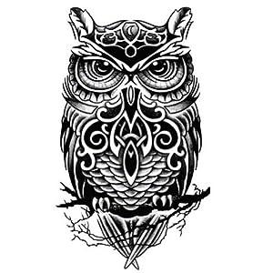 Amazon.com : Cool Owl Pattern Tattoos Body Tattoo Stickers