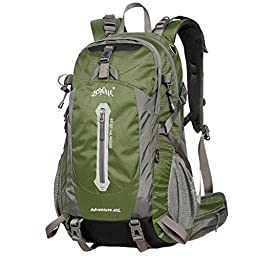 Aonijie 50 Liter Bright Green Color Professional Waterproof Outdoor Sports Climbing Backpack Bag Cover Mountaineering Backpack Shoulder Bag Camping Hiking Backpack Rucksack
