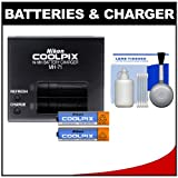 Nikon MH-71 Battery Charger With (2) Rechargeable Ni-MH AA Batteries With 5-Piece Cleaning Kit For Nikon Coolpix...