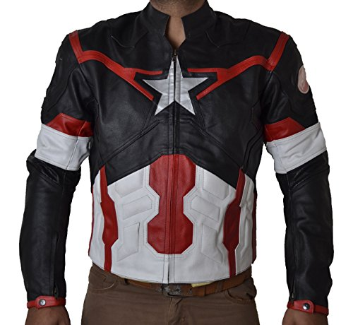 Coolhides Men's Age of Ultron Real Leather Motorcycle Jacket Split Black Large