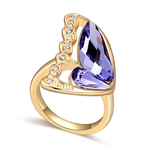 """RI96049C1-8 New Style """"Free To Fly"""" Austrian Crystal Gilded Ring"""