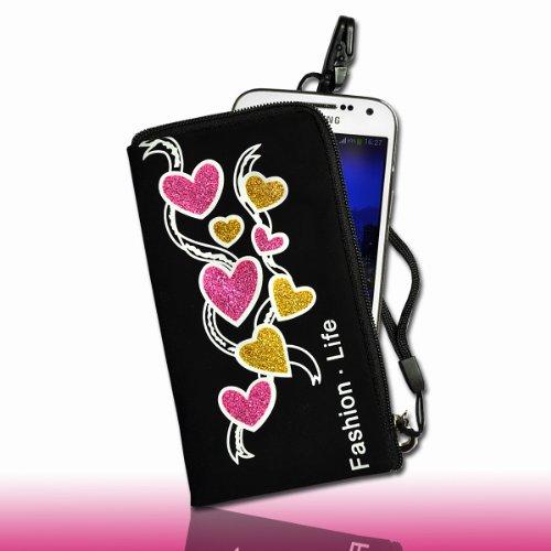 Handy Tasche Etui Case schwarz mit Glitzer Muster in pink / gelb / weiß DK4 für Samsung C3312 Rex60 / S5222R Rex80 / Galaxy Young S6310 / Galaxy Young Duos S6312 / Galaxy Pocket Plus S5301 / Samsung Galaxy Pocket Neo S5310 / Alcatel OT 903D / Alcatel OT Star 6010D