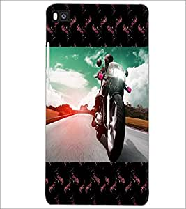 PrintDhaba Bike D-4733 Back Case Cover for HUAWEI P8 (Multi-Coloured)