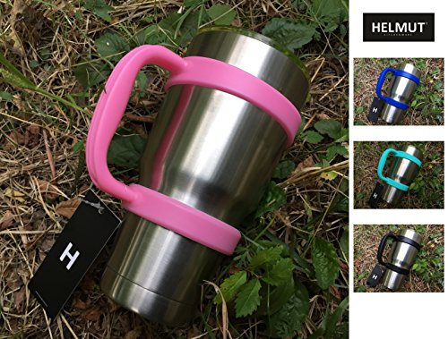 HELMUT - Anti-Slip Color Handle for 30oz Tumblers by HELMUT - Dark Blue, Great Pink, Blue, Black - Best choice of Color Handle for 30oz Yeti, RTIC, Ozark, Tervis and other Cups & Mugs - PINK (Ice Fishing Basket compare prices)