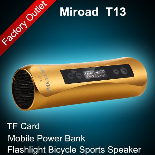 Gold Color Miroad T13 7-In-1 Bicycle Sports Flashlight Hi-Fi Mp3 Speaker Subwoofer Mini Portable Tf Card Fm Radio Record Mobile Power Bank For Iphone Samsung Nokia Htc Mobile Smartphones