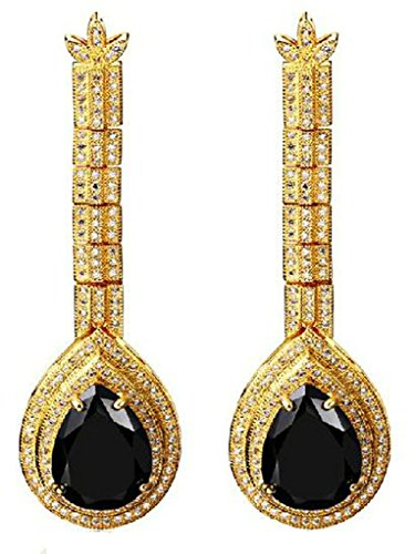 alimab Orecchini da donna placcato oro 18K orecchini pendenti con specchio, placcato oro, colore: black, cod. ABMMNNHHER179
