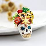 Fashion hot selling new arrival distinctive rhinestone skull fruit flower enamel antique rings