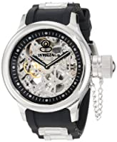 Invicta Men's 1088 Russian Diver Stainless Steel and Black Polyurethane Mechanical Watch with Skeleton Window from Invicta