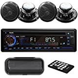 Pyle PLCD4MRKT Stereo Radio Headunit Receiver & Speaker Kit, Aux (3.5mm) MP3 Input, USB Flash & SD Card Readers, CD Player, Remote Control, Includes (4) Waterproof 6.5'' Speakers, Single DIN - Black