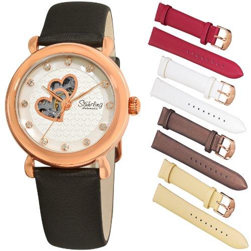 Stuhrling Original Women's 108EH.12452 Valentine Automatic Swarovski Accented Rosetone Watch Gift Set