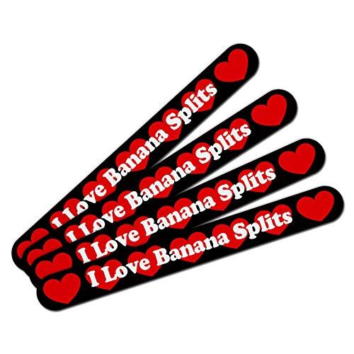 Double-Sided Nail File Emery Board Set 4 Pack I Love Heart Food A-B - Banana Splits (Banana Split I compare prices)