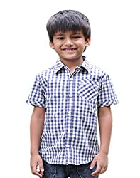Snowflakes Boys' 1 - 2 Years Cotton Casual Shirt (White and Grey)