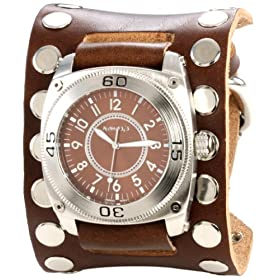 Nemesis Men's BSM012B Signature Stainless Steel Divers Brown Dial Leather Cuff Watch: Watches