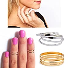 buy Etosell Xmas Gift Celeb Mid Midi Above Knuckle Ring Band Gold Silver Tip Finger Stacking ,Main Color:Silver;Qty:10Pc