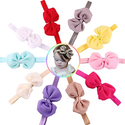 "Qandsweet Baby Girl's Headbands Chiffon Hair Flower (10pack 3.7"" Hair Bows))"