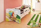 Best For Kids cama infantil con protección anti Caídas y con 10cm Colchón TÜV certificado Super Selección 5Tamaños Diversos diseños Lokomotive Talla:90x180