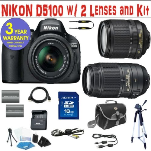 NIKON D5100 DIGITAL SLR CAMERA BODY + NIKON 18-105 VR ZOOM LENS + NIKON 55-300 ZOOM LENS + 16 GIG HIGH SPEED MEMORY CARD + 2 RECHARGEABLE BATTERIES + 3 YEAR CELLTIME WARRANTY