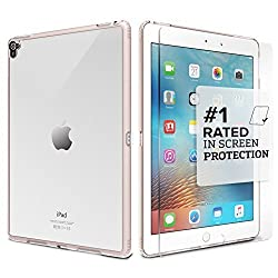 iPad Pro 9.7 Case - SaharaCase Protective Kit (Rose Gold Clear) + [ZeroDamage Tempered Glass Screen Protector] Rugged Slim Cover [Shock-Absorbing Reinforced Bumper] Scratch-Resistant Hard Back