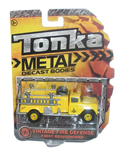 Tonka Metal Diecast Bodies First Responders - Vintage Fire Defense Yellow Fire Truck