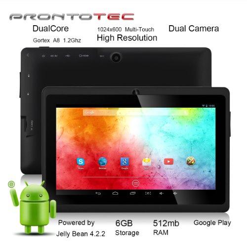 ProntoTec7インチ HDタブレット Android 4.2.2  HD 1024 x 600ピクセル  Cortex A8 1.2 GHzデュアル コア プロセッサ 512MB/6GBデュアル カメラ  HDMI  Gセンサー (ブラック)