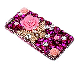 Microsoft Lumia 950 Case, Sense-TE Luxurious Crystal 3D Handmade Sparkle Diamond Rhinestone Cover with Retro Bowknot Anti Dust Plug - Rose Butterfly / Gold&Red