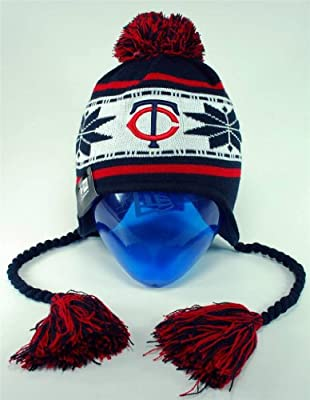 MLB New Era Minnesota Twins Navy Blue Striped Snowflake Tassel Beanie