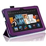 InventCase Amazon Kindle Fire HDX 7 Tablet (7-Inch) 2013 Smart Multi-Functional Leather 3-Fold Case Cover with Sleep Wake Function - Purple