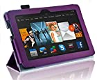 New Amazon Kindle Fire HDX 7 inch 7 2013 (ALL Model Versions - 16GB, 32GB & 64GB Wi-Fi + 4G LTE) PURPLE Multi-Function Leather SMART FOLIO Front & Back Case / Smart Cover / Typing & Viewing Stand / Premium SLIM Flip Case With Magnetic Sleep Sensor & Screen Protector Shield Guard & Amazon Kindle Fire HDX Tablet Stylus Pen Accessory Accessories Pack by InventCase®