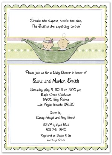 3d 2 peas in a pod boys baby shower invitations set of 20