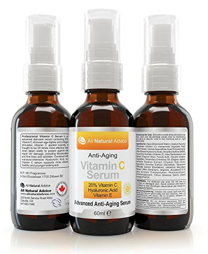 20% Vitamin C Serum - 60 ml / 2 oz Made in Canada - Certified Organic + 11% Hyaluronic Acid + Vitamin E Moisturizer + Collagen Boost - Reverse Skin Aging, Remove Sun Spots, Wrinkles and Dark Circles, Excellent for Sensitive Skin + Includes Pump & Dropper