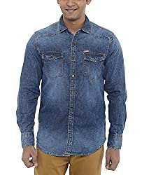 American Bull Men's Casual Shirt (ABSH6016, Blue, Large)