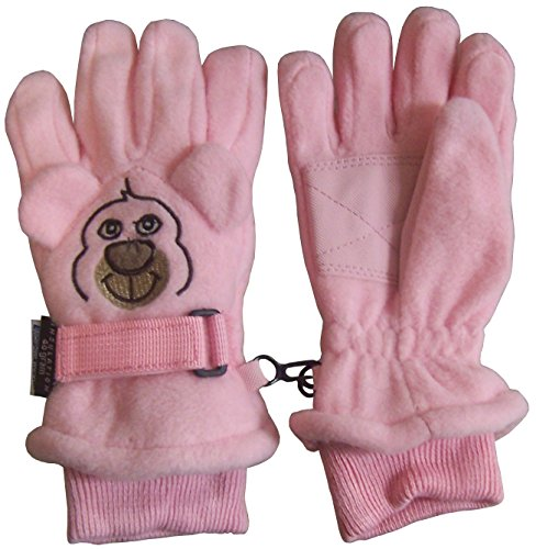 N'Ice Caps Kids Cute Animal Faces Waterproof Fleece Ski Gloves (3-4 Years, Bear - Pink)