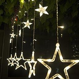 110V US Plug 168 Led Star Lights LED Star Fairy Light for Indoor Outdoor Festival Decoration Christmas Xmas Decorative LED Curtain Light 2.3m(w) X 1m(h) (WARM WHITE)