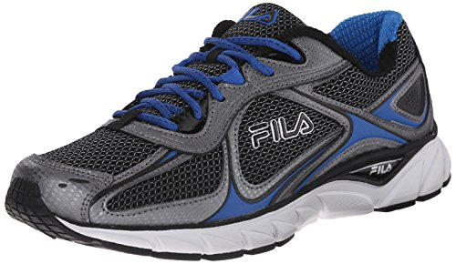 Fila Men's Quadrix Running Shoe, Black/Dark Silver/Prince Blue, 10.5 M US