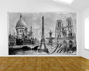 Bilderdepot24 self adhesive photo wallpaper wall mural for Black and white paris wall mural