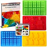 Silicone Candy Molds & Ice Cube Trays for Lego Lovers with Recipe eBook by Americas Best Buys (4-Pack)