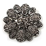 Vintage Swarovski Crystal Floral Brooch (Antique Silver)