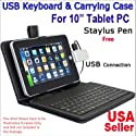 "10.2"" Synthetic Leather Case with Keyboard and Stylus Pen for ePad and aPad (Black)"
