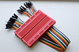 Red 400PTS Breadboard with 20-wire rainbow F/M jumper wires for TI Launchpad