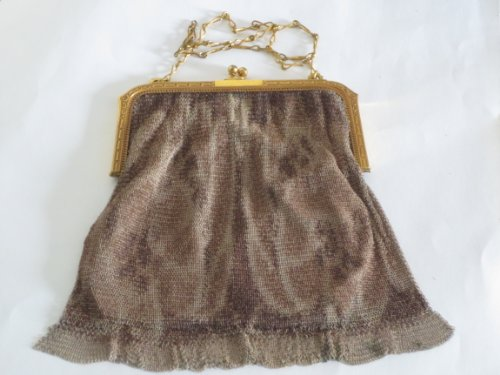antique-1920s-whiting-and-davis-art-deco-metal-mesh-purse-w-small-round-beveled-mirror