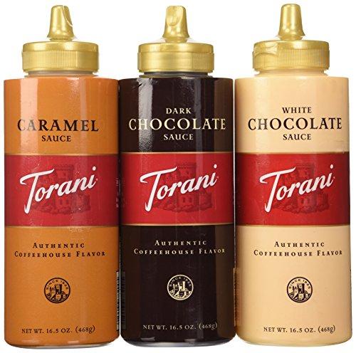 Torani Sauce 3 Pack Chocolate, Caramel, White Chocolate 16.5 Oz with NEW Packaging (Chocolate Sauce Coffee compare prices)