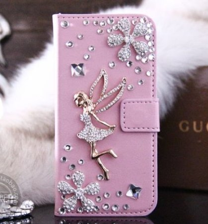 Cute sparkly Swarovski rhinestones used Tinker Bell flower bijoux design leather pocketbook type Smartphone cover iphone5 iphone5s iphone case Smartphone iPhone (Pink)
