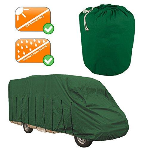 Premium Wohnmobil Abdeckung, Reisemobil Plane bis 7,0-7,5 Meter, mehrschichtiger Stoffüberwurf zum sicheren Abdecken des Campers, Atmungsaktiv + optimaler UV-Schutz, grün