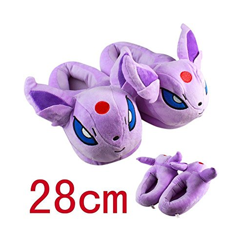 "Huajun®9 Style 11""28cm Pokemon Pikachu Eevee Sylveon Umbreon Espeon Jolteon Flareon Poke Ball Plush Slippers Stuffed Plush Shoes (Purple)"
