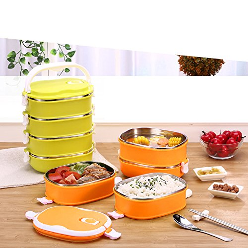 coffled stainless steel bento lunch box premium leak proof portable food stor. Black Bedroom Furniture Sets. Home Design Ideas