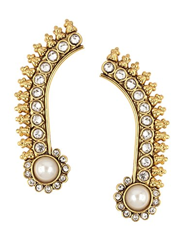 The Jewelbox Antique Traditional Pearl American Diamond Ear Cuff Pair Earring
